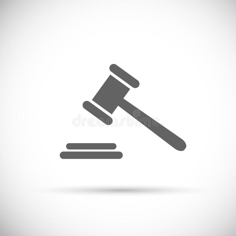 Ícone do martelo do juiz Pictograma do leilão Símbolo de justiça do vetor ilustração stock