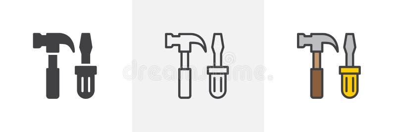 Ícone do martelo e da chave de fenda ilustração do vetor
