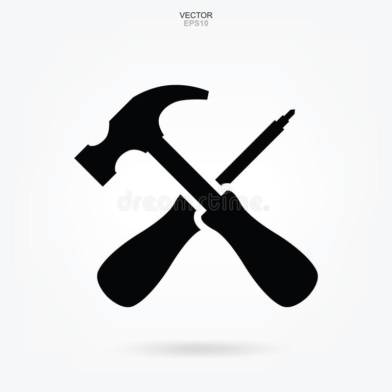 Ícone do martelo e da chave de fenda Sinal e símbolo da ferramenta do artesão Vetor ilustração royalty free