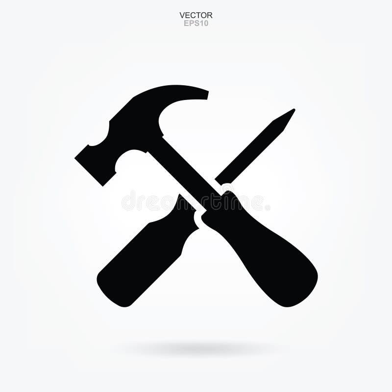 Ícone do martelo e da chave de fenda Sinal e símbolo da ferramenta do artesão Vetor ilustração do vetor
