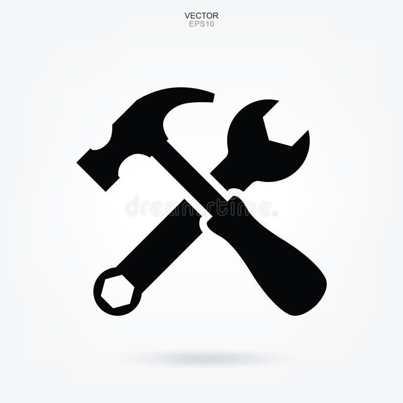 Ícone do martelo e da chave Sinal e símbolo da ferramenta do artesão Vetor ilustração do vetor