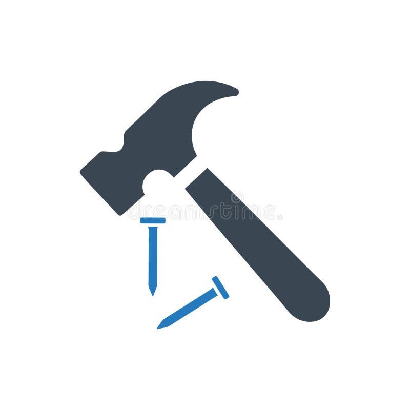 Ícone do martelo e do prego ilustração do vetor