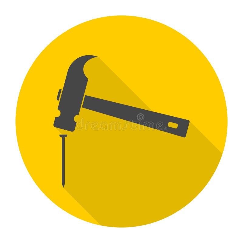 Ícone do martelo e do prego ilustração stock