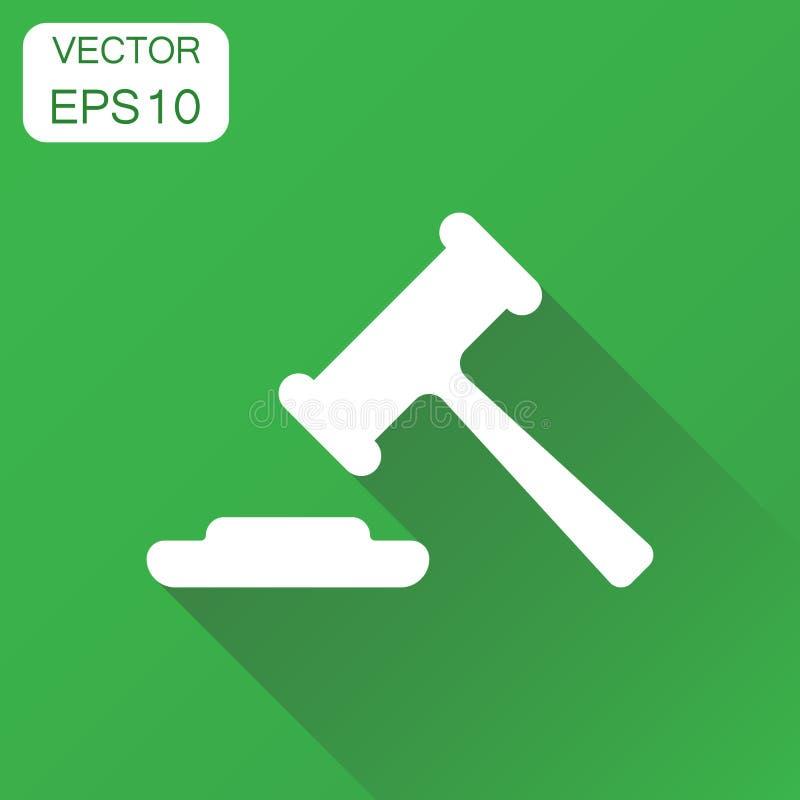 Ícone do martelo do leilão Pictograma do tribunal da corte do conceito do negócio ilustração do vetor
