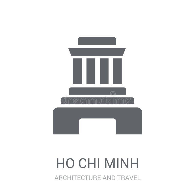 Ícone do mausoléu de Ho Chi Minh Logotipo na moda co do mausoléu de Ho Chi Minh ilustração do vetor