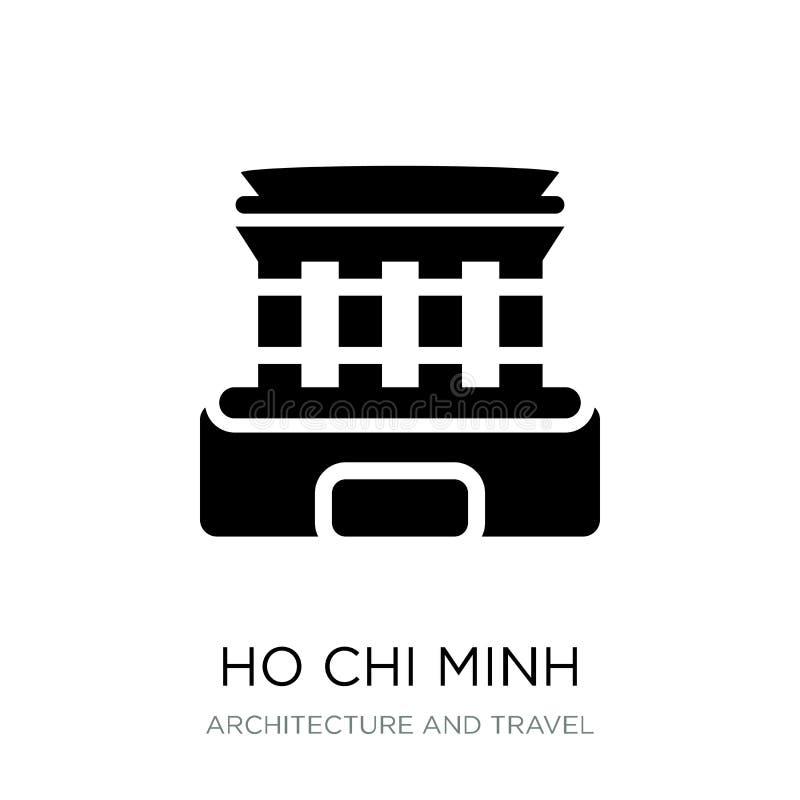 ícone do mausoléu de Ho Chi Minh no estilo na moda do projeto ícone do mausoléu de Ho Chi Minh isolado no fundo branco Mausoléu d ilustração royalty free