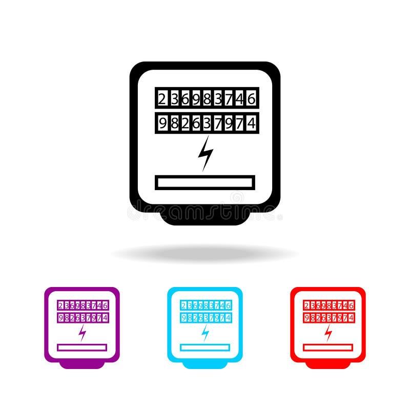 Ícone do medidor bonde Elementos da eletricidade em multi ícones coloridos Ícone superior do projeto gráfico da qualidade Ícone s ilustração stock