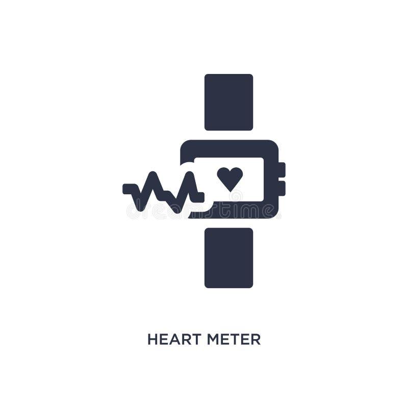 ícone do medidor do coração no fundo branco Ilustração simples do elemento do conceito da medida ilustração do vetor