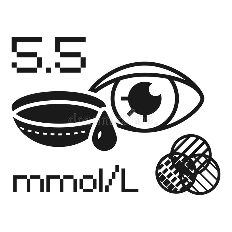 Ícone do medidor da glicose do olho, estilo simples ilustração stock