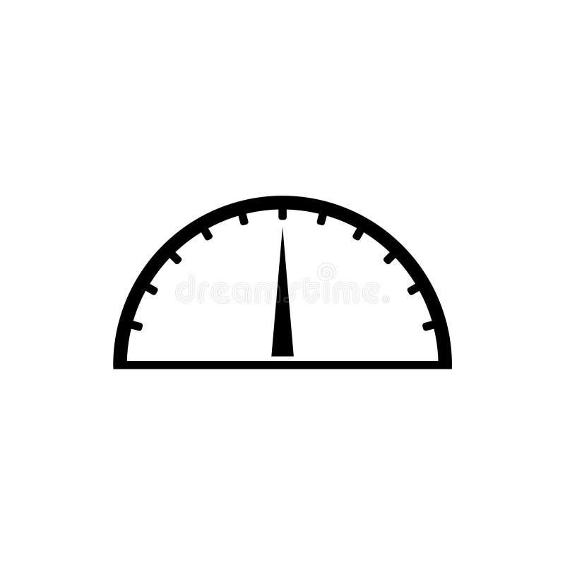 Ícone do medidor de velocidade, ícone do velocímetro, ícone simples do vetor ou logotipo ilustração royalty free