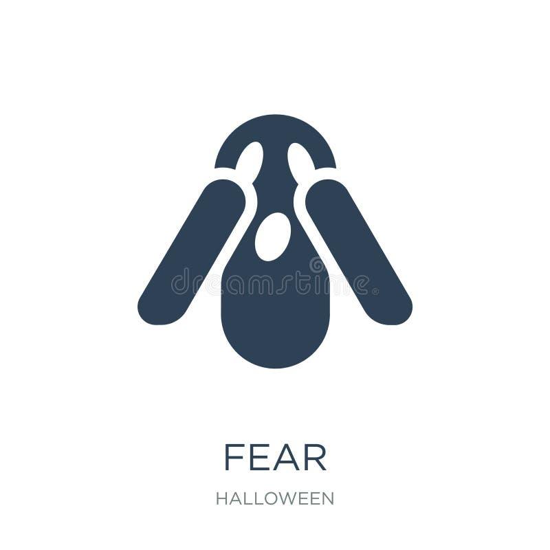 ícone do medo no estilo na moda do projeto ícone do medo isolado no fundo branco símbolo liso simples e moderno do ícone do vetor ilustração do vetor