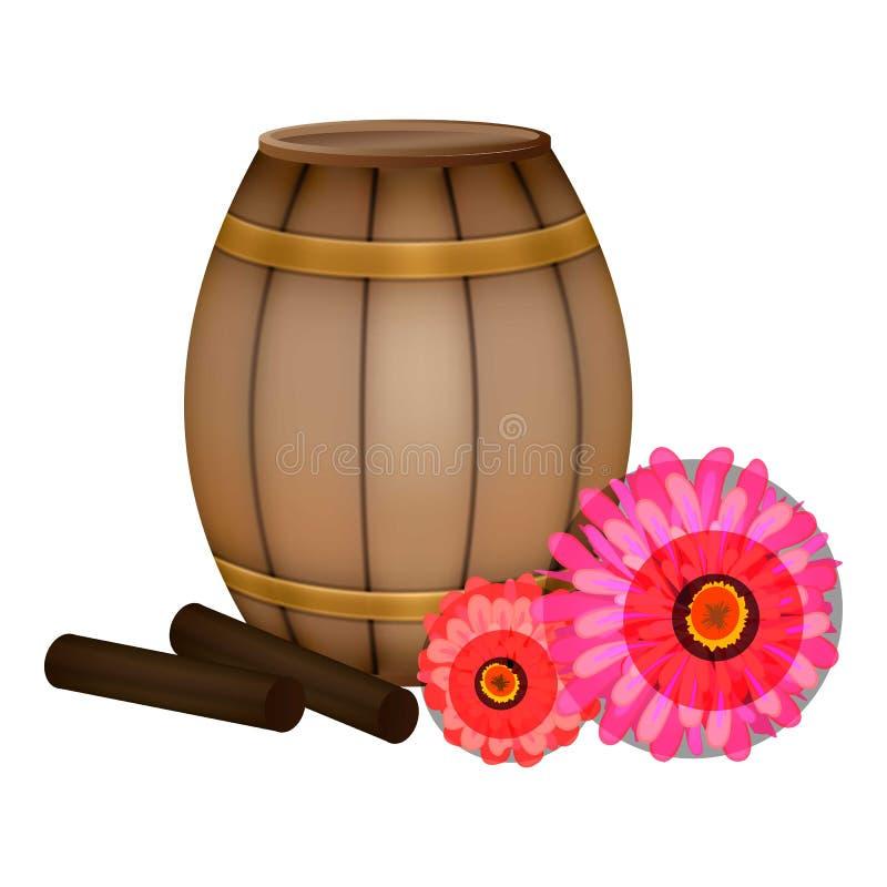 Ícone do mel do tambor da vara do Propolis, estilo dos desenhos animados ilustração stock