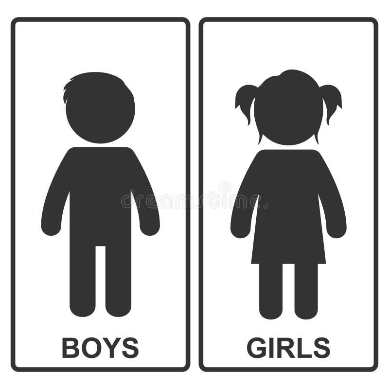 Ícone do menino e da menina Ilustração do vetor ilustração royalty free