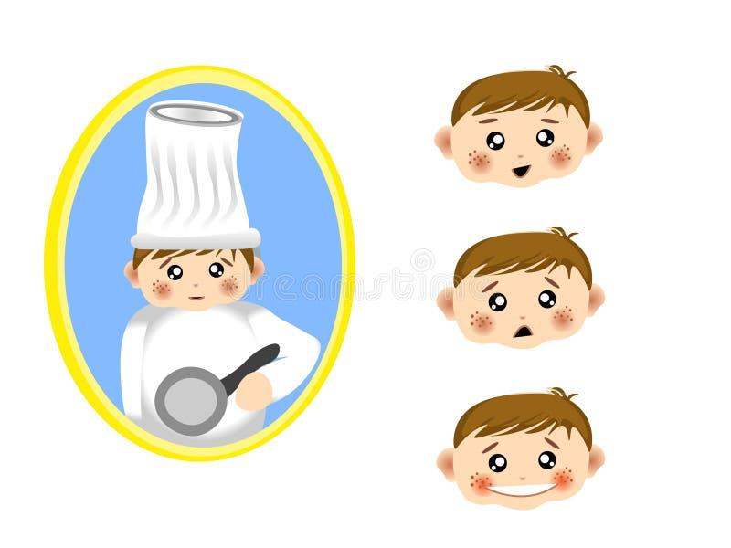 Ícone do menino na profissão do homem do cozinheiro chefe com pacote de várias expressões no vetor ilustração royalty free