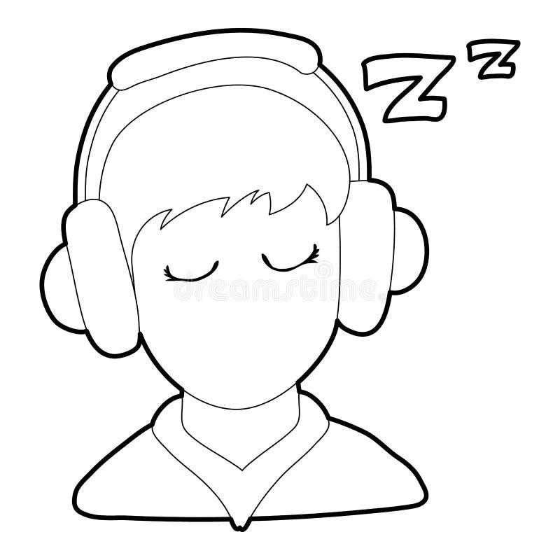 Ícone do menino do sono, estilo do esboço ilustração stock