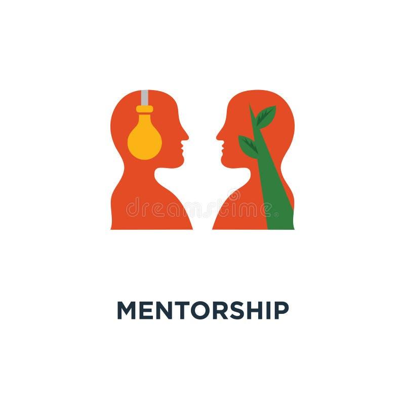 ícone do mentorship orientação e liderança, projeto emocional, empatia e comunicação do símbolo do conceito da inteligência, cara ilustração stock