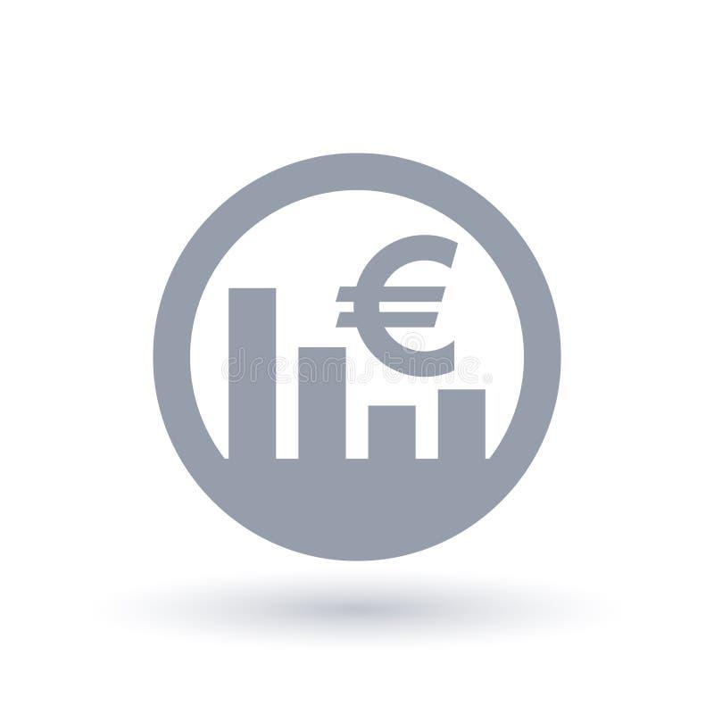 Ícone do mercado de valores de ação do Euro - sinal europeu da taxa de câmbio da moeda ilustração royalty free