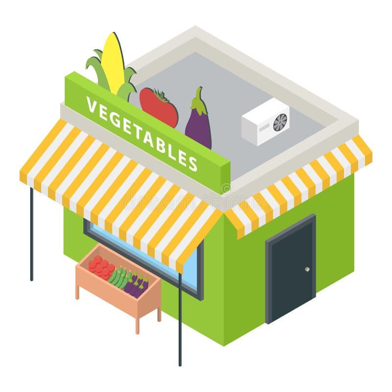 Ícone do mercado dos vegetais, estilo isométrico ilustração do vetor