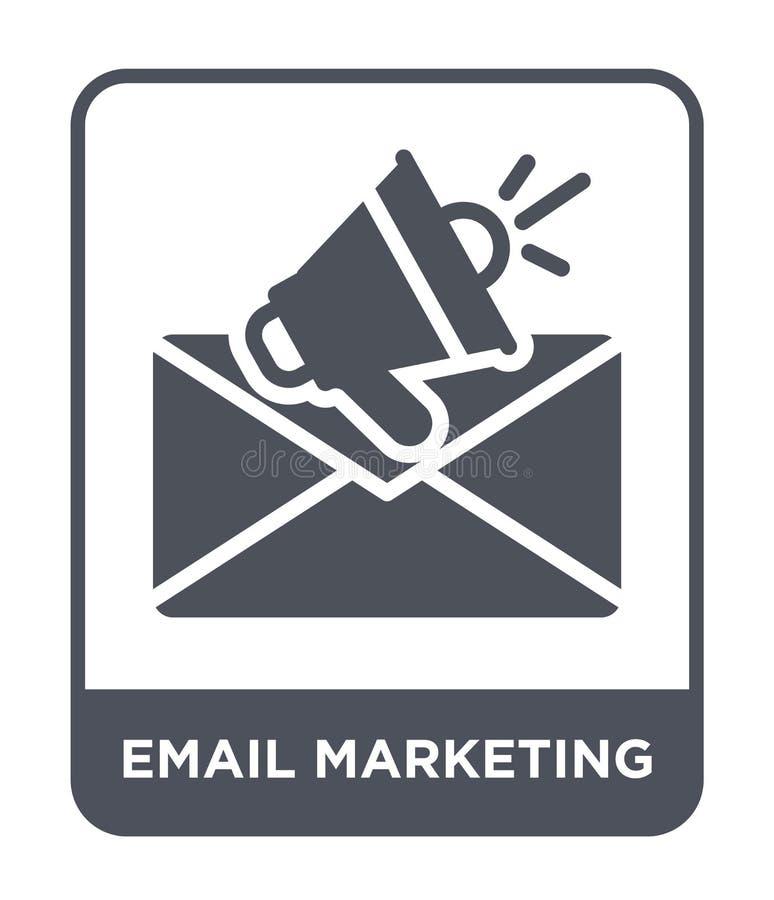 ícone do mercado do e-mail no estilo na moda do projeto ícone do mercado do e-mail isolado no fundo branco ícone do vetor do merc imagens de stock royalty free
