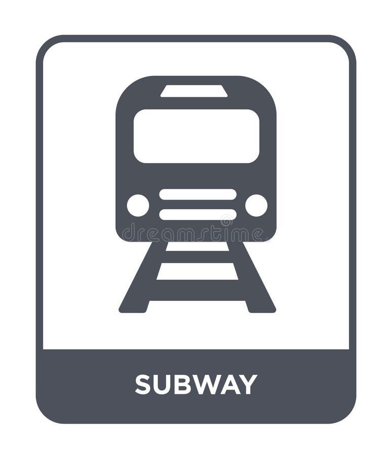ícone do metro no estilo na moda do projeto Ícone do metro isolado no fundo branco símbolo liso simples e moderno do ícone do vet ilustração royalty free
