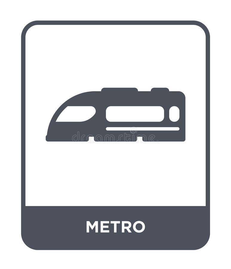 ícone do metro no estilo na moda do projeto ícone do metro isolado no fundo branco símbolo liso simples e moderno do ícone do vet ilustração stock