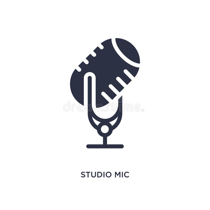 ícone do mic do estúdio no fundo branco Ilustração simples do elemento do conceito do cinema ilustração royalty free