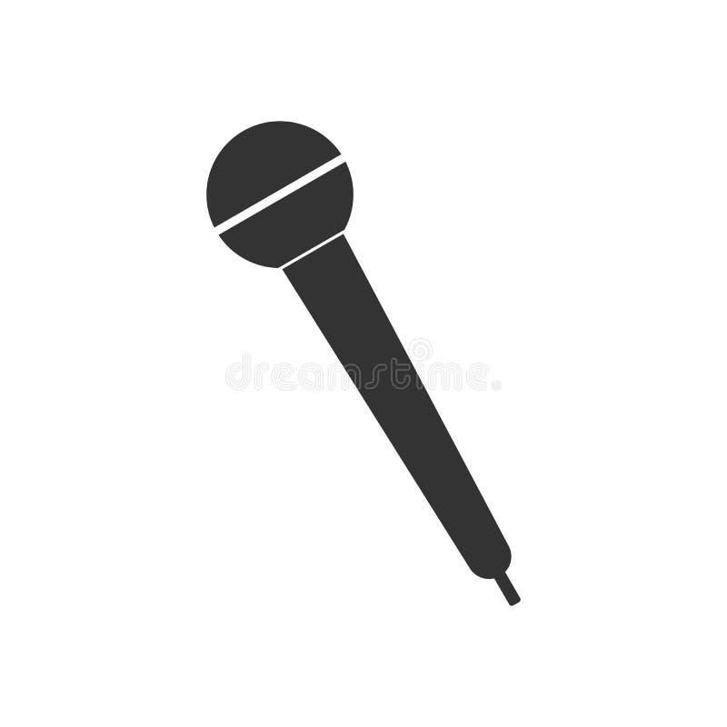 Ícone do mic do microfone Ilustração do vetor, projeto liso ilustração do vetor