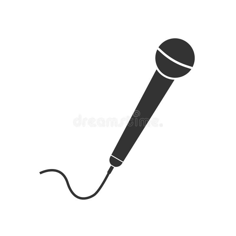 Ícone do mic do microfone Ilustração do vetor, projeto liso ilustração stock
