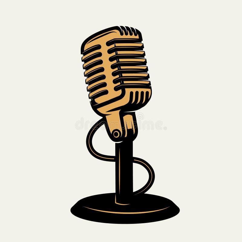 Ícone do microfone do vintage no fundo branco Ele do projeto ilustração do vetor