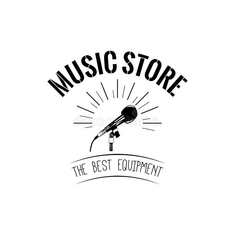 Ícone do microfone Etiqueta do logotipo da loja da música O melhor texto do equipamento Vetor ilustração stock