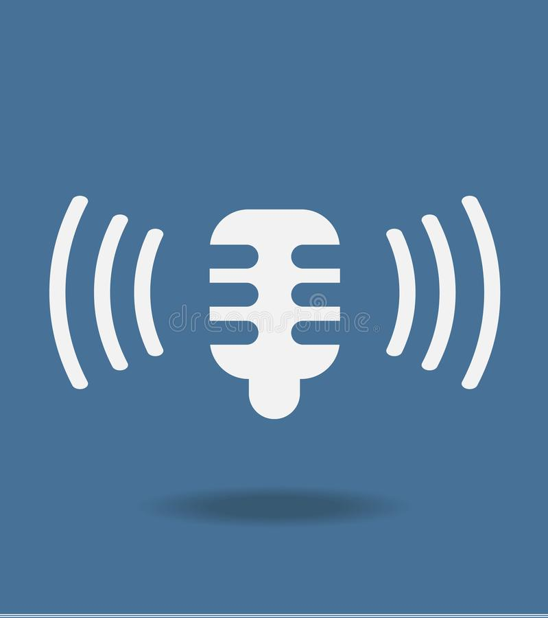 Ícone do microfone no estilo liso na moda isolado no fundo azul, para seu design web, app, logotipo Ilustração do vetor ilustração stock