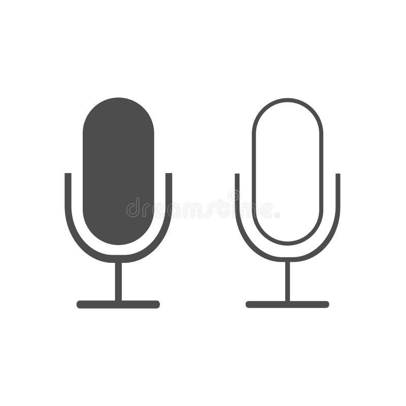 Ícone do microfone, sinal do registrador Projeto liso Ilustração do vetor ilustração stock