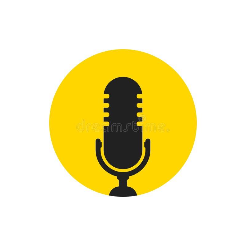Ícone do microfone Vetor do orador Sinal sadio isolado no fundo branco Ilustração simples para a Web e plataformas móveis ilustração royalty free