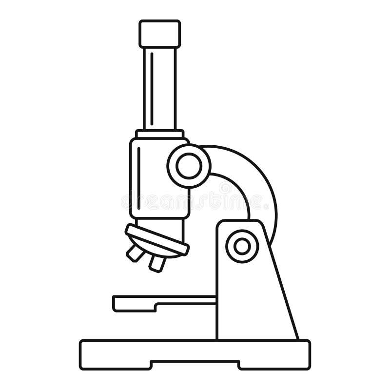 Ícone do microscópio da ciência, estilo do esboço ilustração royalty free