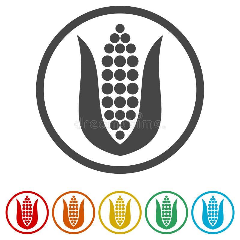 Ícone do milho, ícones do milho e símbolos, 6 cores incluídas ilustração royalty free