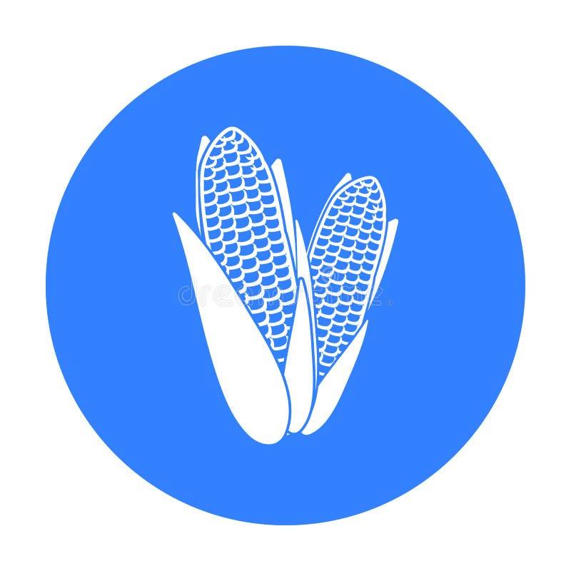 Ícone do milho doce no estilo preto isolado no fundo branco Ilustração canadense do vetor do estoque do símbolo do dia da ação de ilustração do vetor