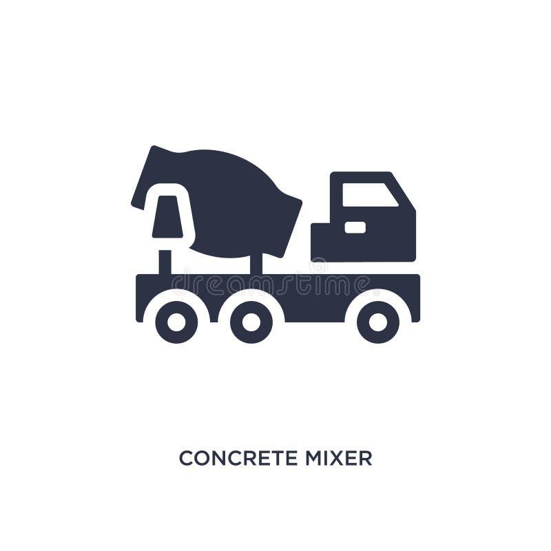 ícone do misturador concreto no fundo branco Ilustração simples do elemento do conceito das ferramentas da construção ilustração stock