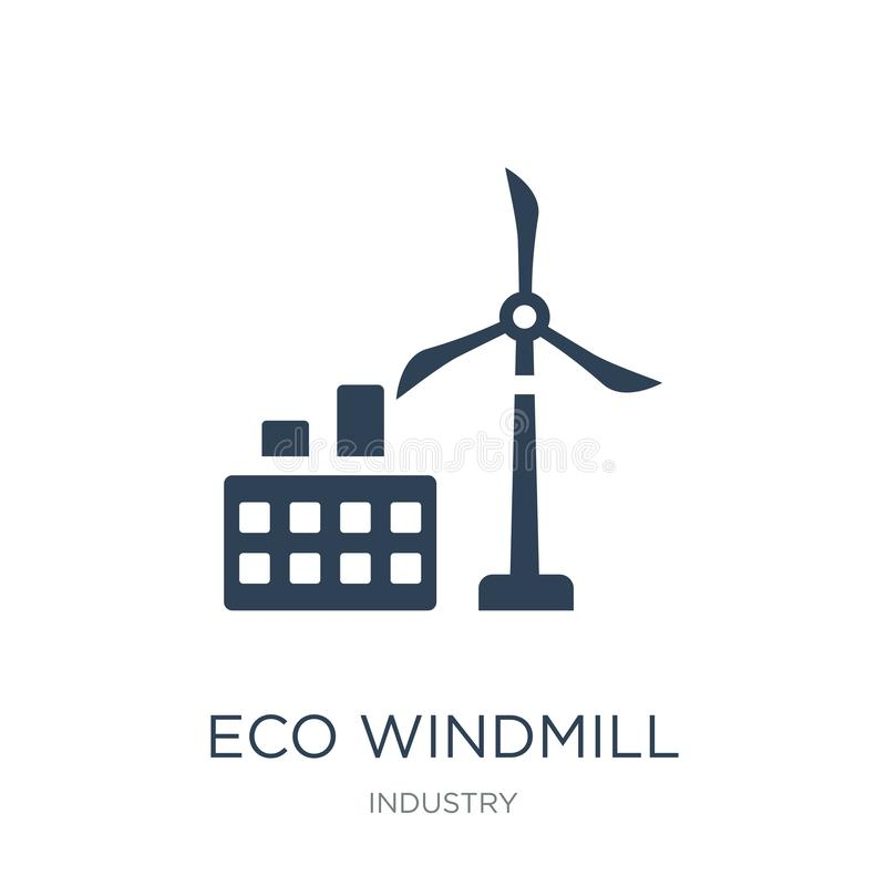 ícone do moinho de vento do eco no estilo na moda do projeto ícone do moinho de vento do eco isolado no fundo branco ícone do vet ilustração stock