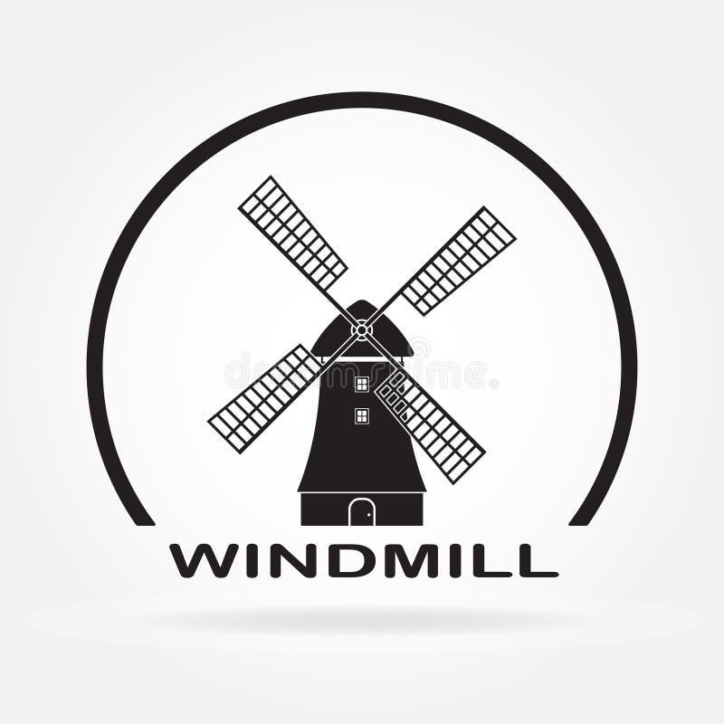 Ícone do moinho de vento isolado no fundo branco Símbolo do moinho e da Holanda Ilustração do vetor ilustração do vetor