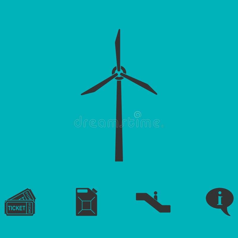 Ícone do moinho de vento liso ilustração royalty free