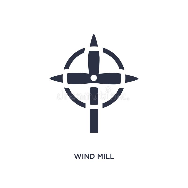 ícone do moinho de vento no fundo branco Ilustração simples do elemento do conceito da ecologia ilustração do vetor