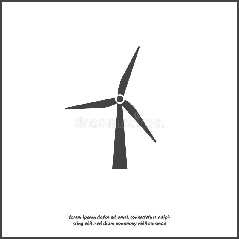 Ícone do moinho de vento do vetor Gerador de poder no fundo isolado branco ilustração do vetor
