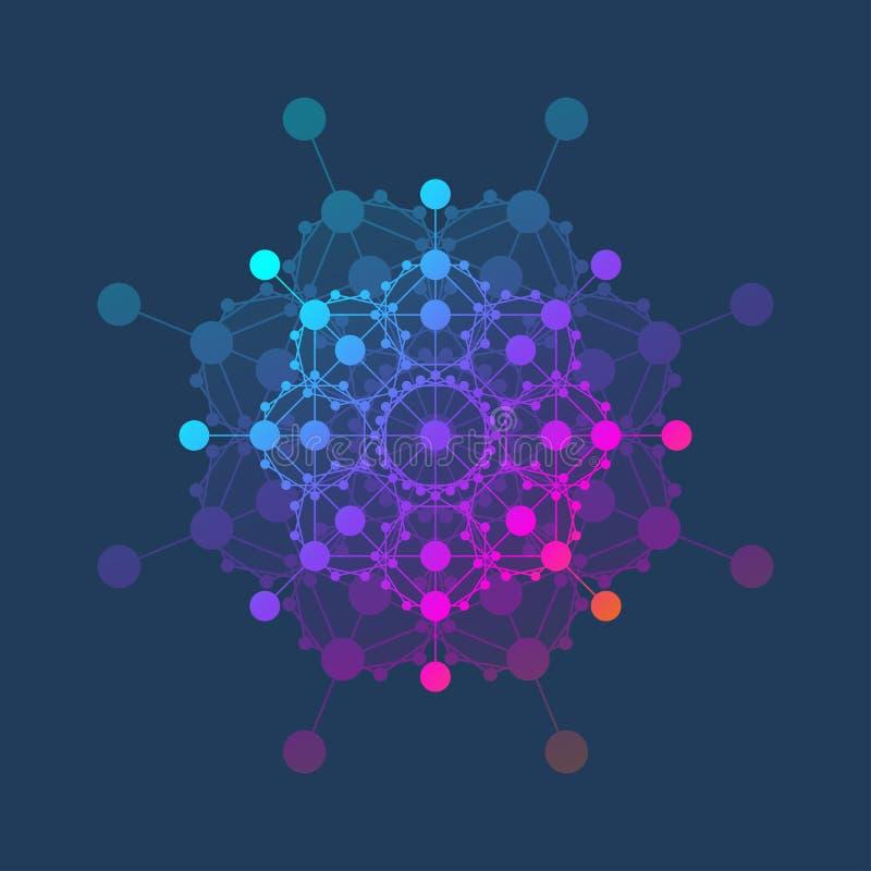 Ícone do molde do logotipo da molécula, logotype da genética da ciência, hélice do ADN Análise genética, ADN do código de Biotech ilustração do vetor