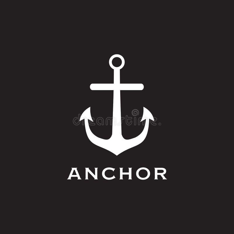 Ícone do molde do vetor do projeto do logotipo da âncora ilustração stock