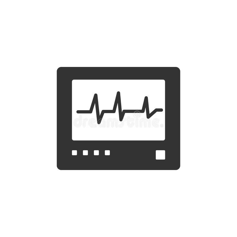 Ícone do monitor da frequência cardíaca em um fundo branco heartbeat ilustração do vetor