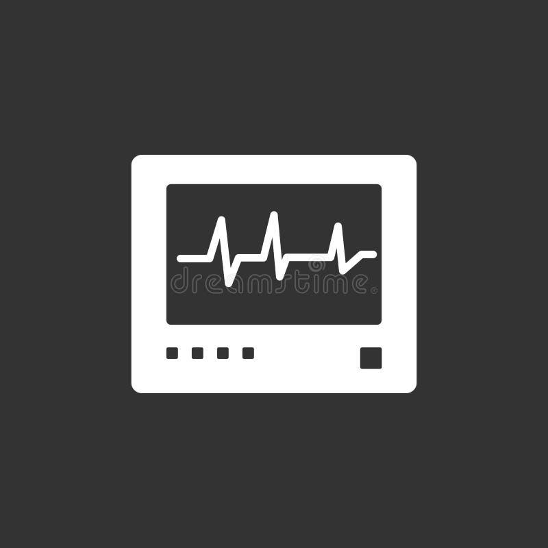 Ícone do monitor da frequência cardíaca em um fundo preto heartbeat ilustração stock