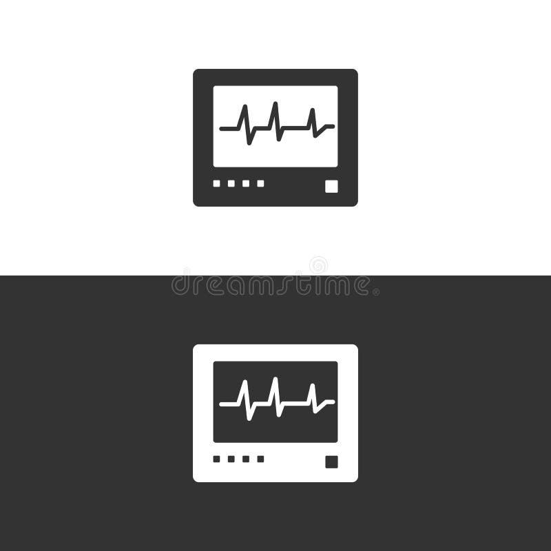 Ícone do monitor da frequência cardíaca no fundo preto e branco heartbeat ilustração stock