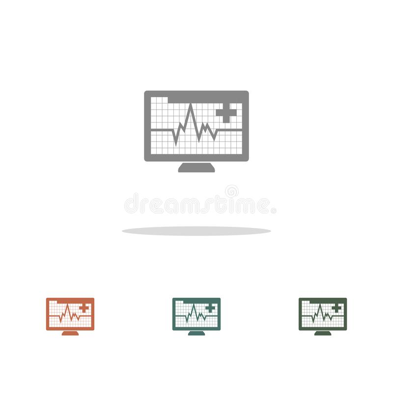 Ícone do monitor de frequência cardíaca isolado em fundo branco ilustração do vetor