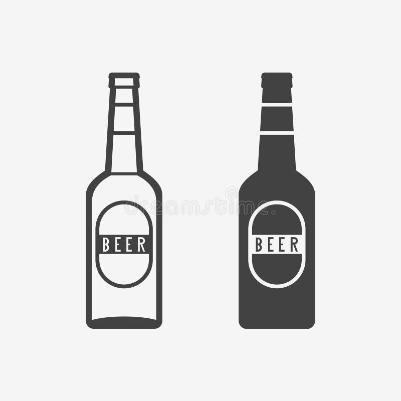 Ícone do monochrome da garrafa de cerveja Ilustração do vetor ilustração do vetor