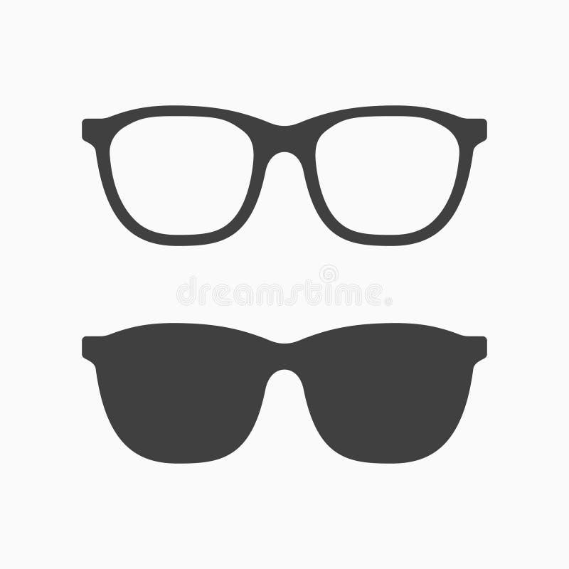 Ícone do monochrome dos vidros e dos óculos de sol Ilustração do vetor ilustração stock